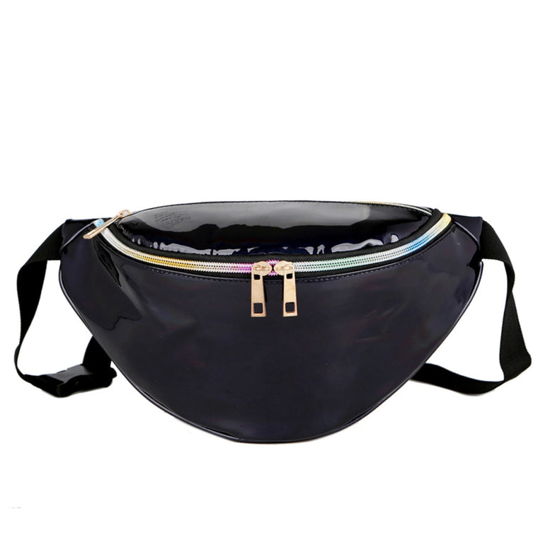 Fashion Leather waist packs women Silver mochila cintura waist bag belt bag men pouch PU Casual Fanny Multi-Function Waist Bags