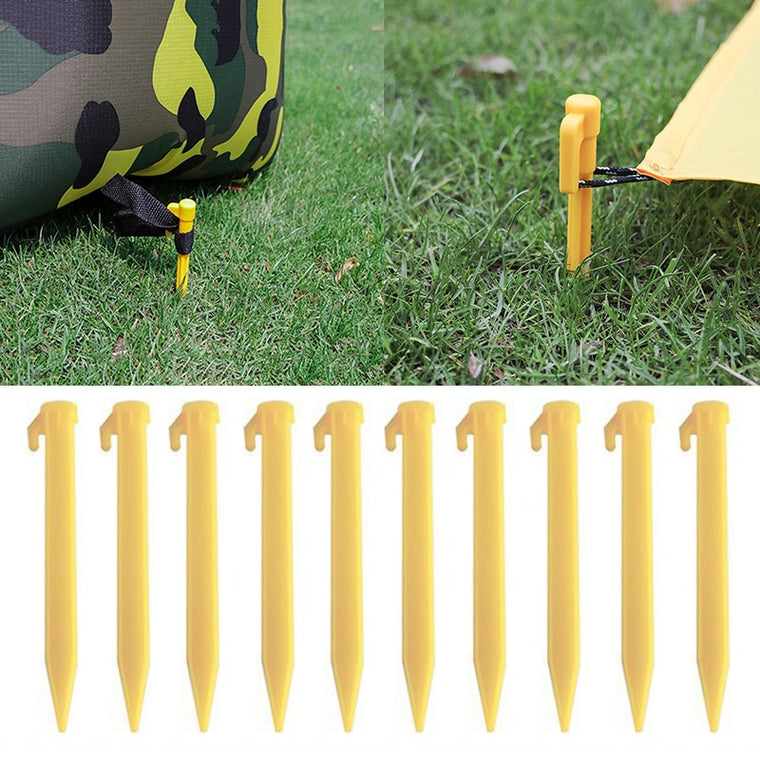 New 10 Pcs Outdoor Travel Camping Tents Stakes Pegs Pins Trip Plastic Heavy Duty Tent Nails Fixing Tent Mat Stake Nails