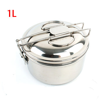 Stainless steel hiking picnic tableware set of 4 with folding spoon fork knife beton and lunch box outdoor camping trip