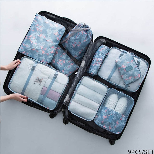 5PCS 9PCS/set Travel Packing Cube Underwear Baggage Shoes Clothes Organizer Waterproof Travel Bags Clothing Sorting Organize Bag