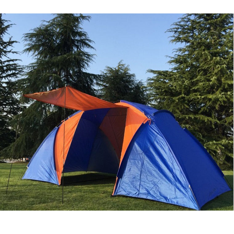 5-6persons luxury 2room 1hall double layer large family outdoor camping tent without the bottom aluminum mat