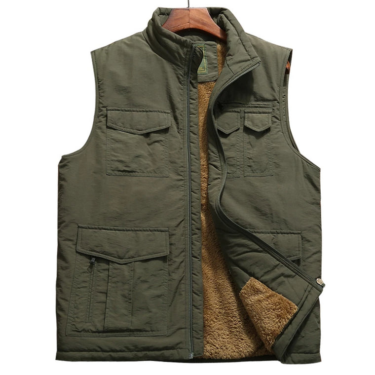 2018 Winter New Mens Warm Vest Men Multi-pockets Waistcoat Fleece Mens Warm Sleeveless Jacket Waistcoat hombre Large Size 5XL