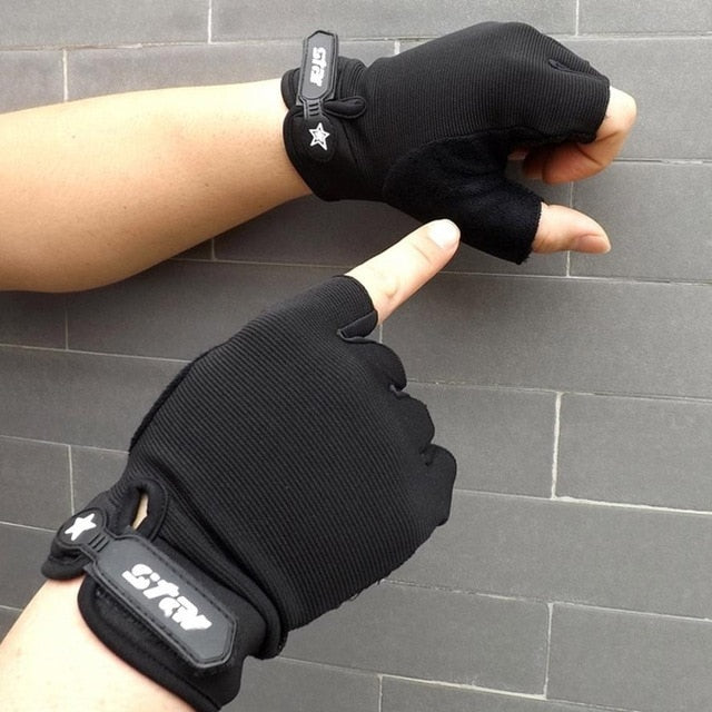 Men Antiskid Cycling Bike Gym Fitness Sports Half Finger Gloves Weight Lifting Sports Gloves  0809