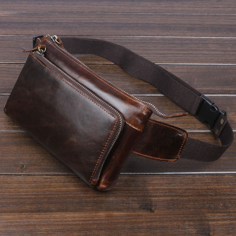 Men Oil Wax Genuine Leather Cowhide Vintage Travel Cell/Mobile Phone Hip Bum Belt Pouch Fanny Pack Waist Purse Bag