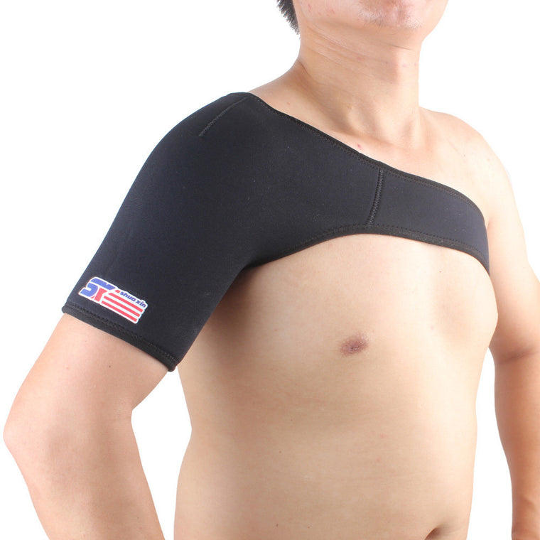 Sports Single Shoulder Brace Support Strap Wrap Belt Band Pad - Black