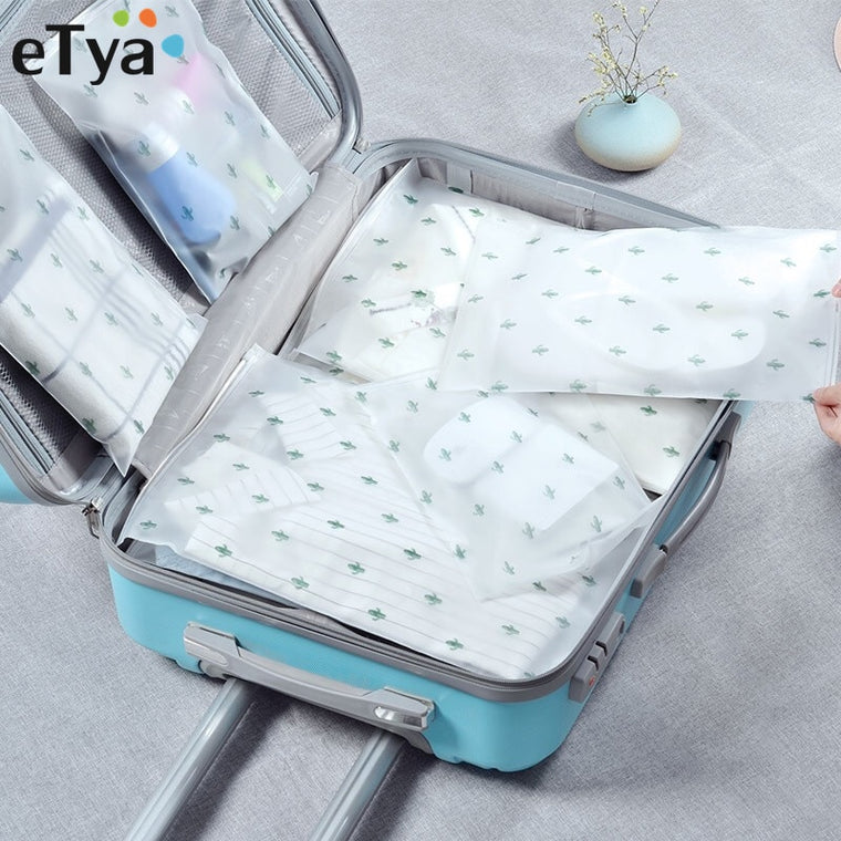 eTya Travel Accessories PVC Waterproof Luggage Packing Organizer Bags Makeup Cosmetic Shoes Bra Toiletry Wash Pouch Case