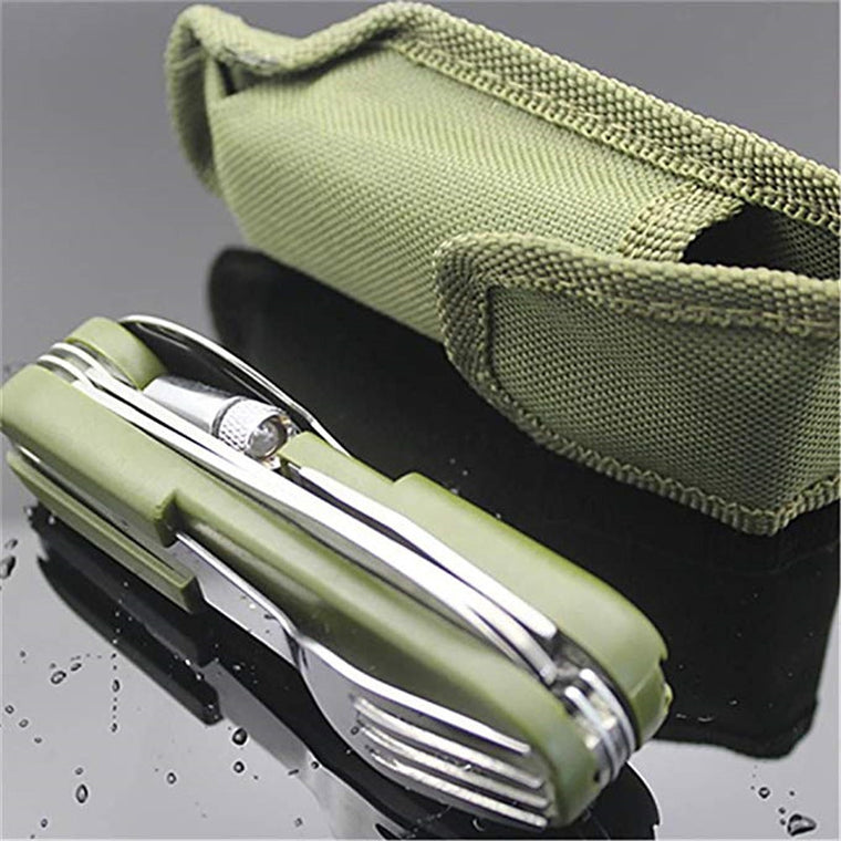 9in1 Folding Tableware With Led Light Outdoor Camping Fork/Spoon/Knife Stainless Steel Dinnerware Multifunction Cutlery Cycling