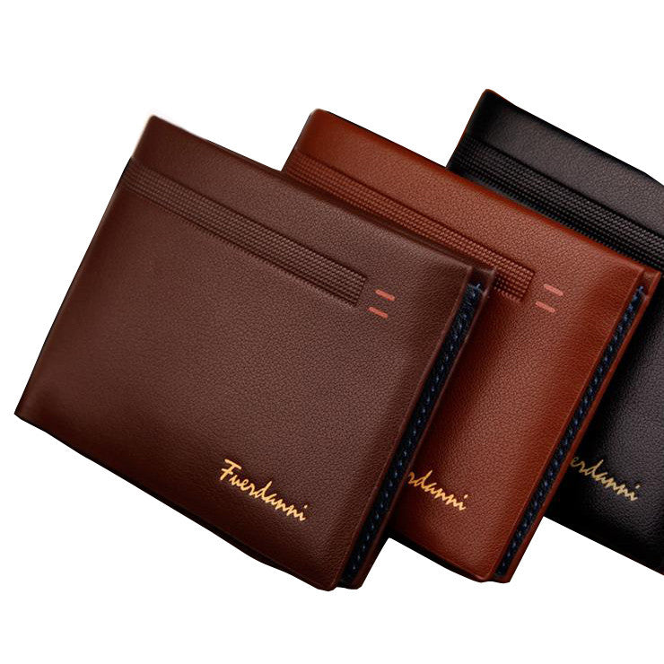 Fashion New Qulaity PU Leather Men Wallets 3 Fold Business Short Style Design Black Coffee Photo Bit Card Holder Purse Wallet
