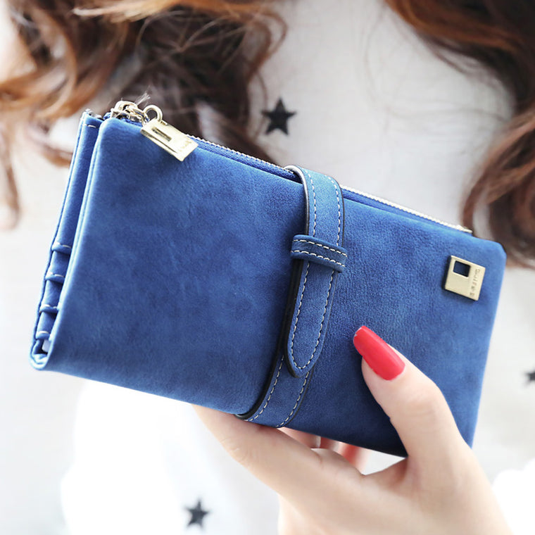 Brand Designer Faux Suede Women Wallets Matte Leather Long Clutch Ladies Purse Fashion Card Holder Female Wallet Hot Carteira