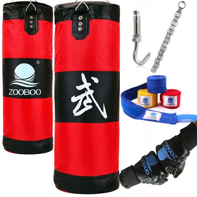 100cm Training Fitness MMA Boxing Punching Bag Empty Sport Kick Sandbag Muay Thai Boxer Training Set Wraps & Hook &a pair Gloves