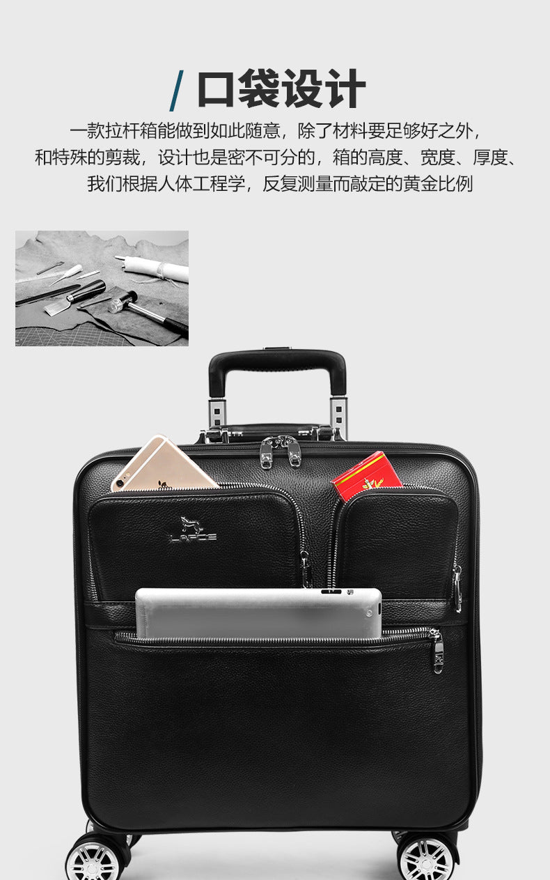 "TRAVEL TALE 16"" 20"" inch real leather black vintage cabin suitcase retro hand luggage trolly bag travel box"