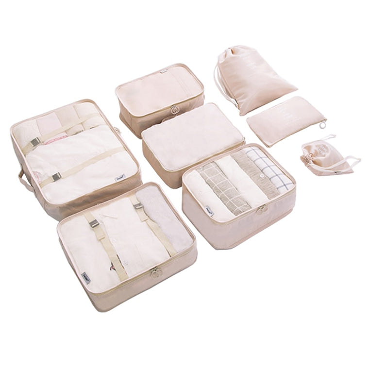 8 pcs/set Durable Folding Travel Packing Cubes Visible Waterproof Dual Faced Twill Fabric Travel Compression Packing Organizers