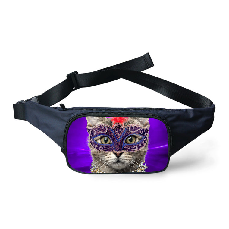 Trendy Women Pet Mask Cat Print Canvas Fanny Pack Fashion Pouch Multifunctional Travel Mobile Phone Belt Bag Girls Waist Bags