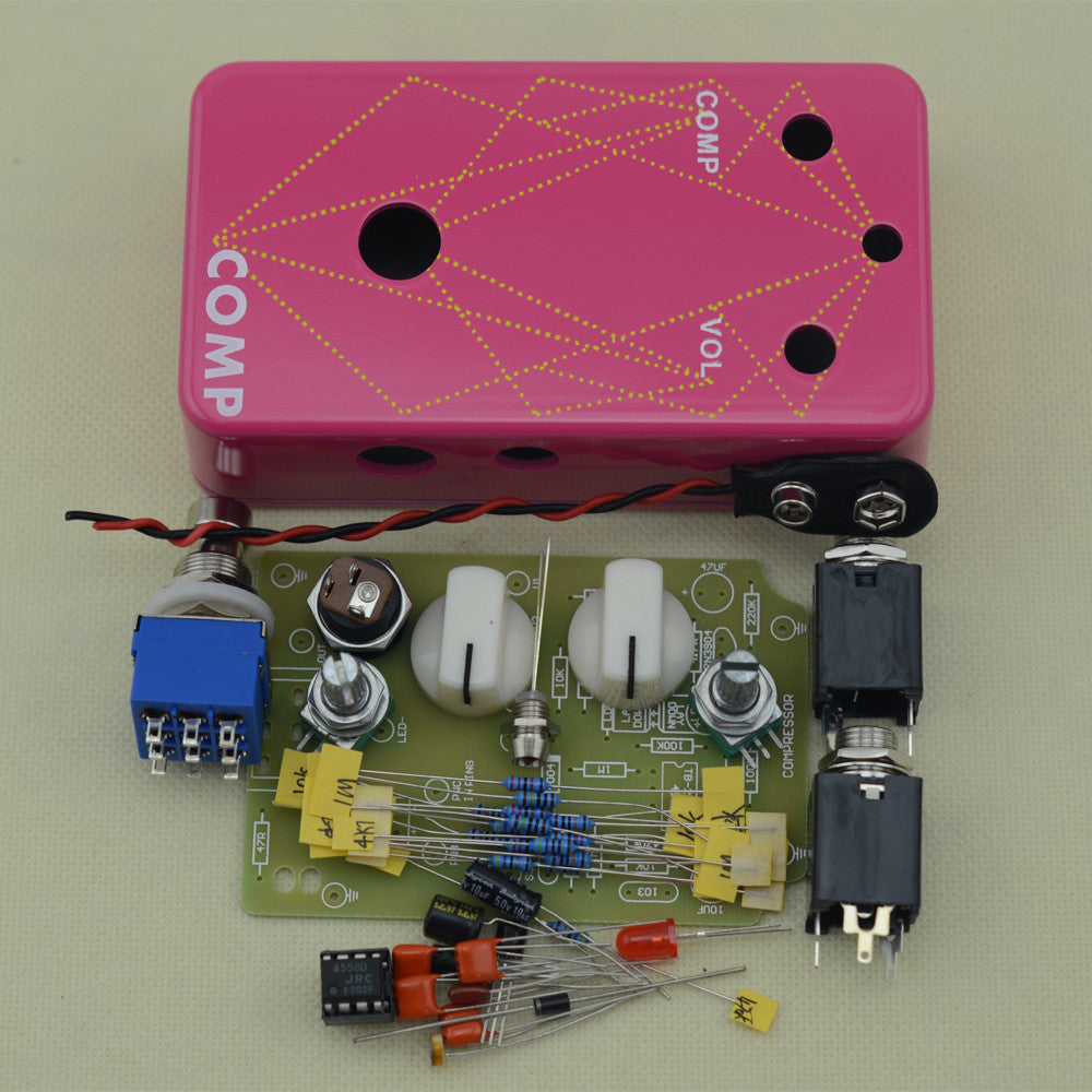 DIY Electric Compressor stomp  Pedal Guitar Effect pedal/ True Bypass pedal  drilling aluminum pink box kit +Free SHIPPING