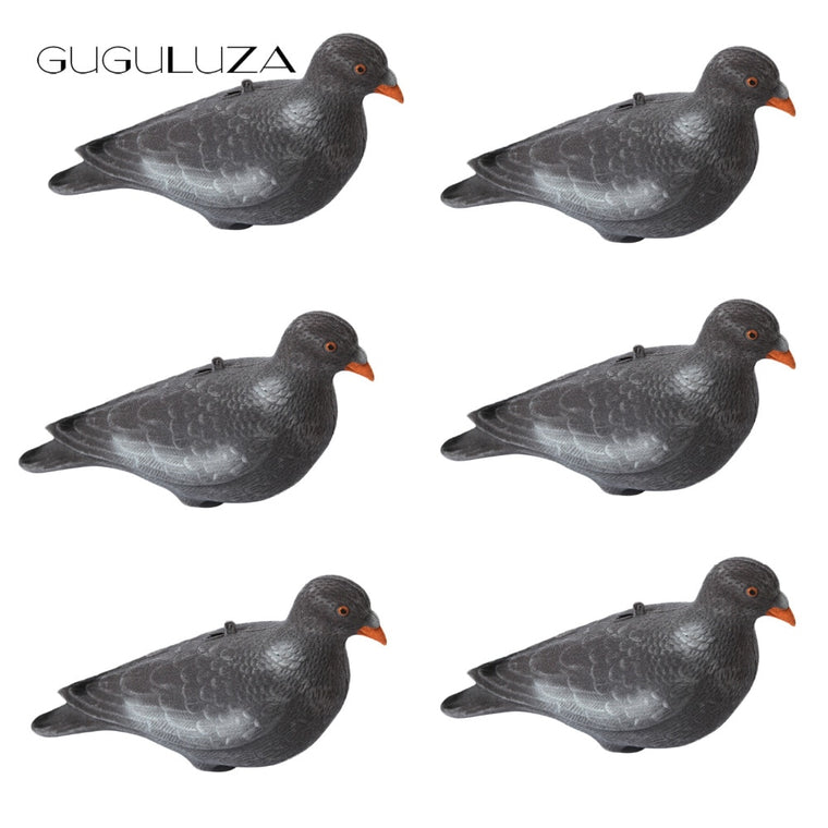GUGULUZA 6 x Full Body Flocked Pigeon Decoy 12 inch Realistic Dove With Stick Pegs