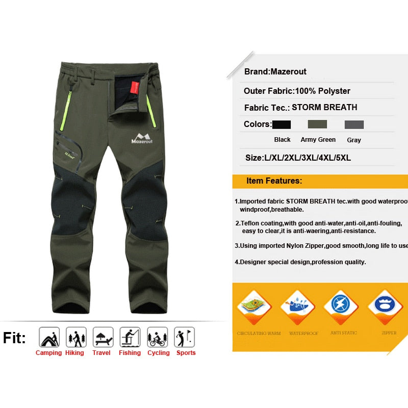 Dropshipping Woman Man Winter Fish Waterproof Camp Trekking Fleece Outdoor Hike Pants Climb ski Softshell Trousers Oversized 6XL