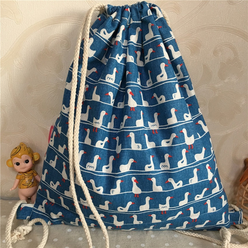 YILE Cotton Linen Drawstring Backpack Book Bag Printed White Duck Blue Base B924b