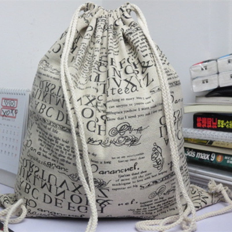 YILE Cotton Linen Drawstring Backpack Student Book Shoe Bag English Newspaper 614e