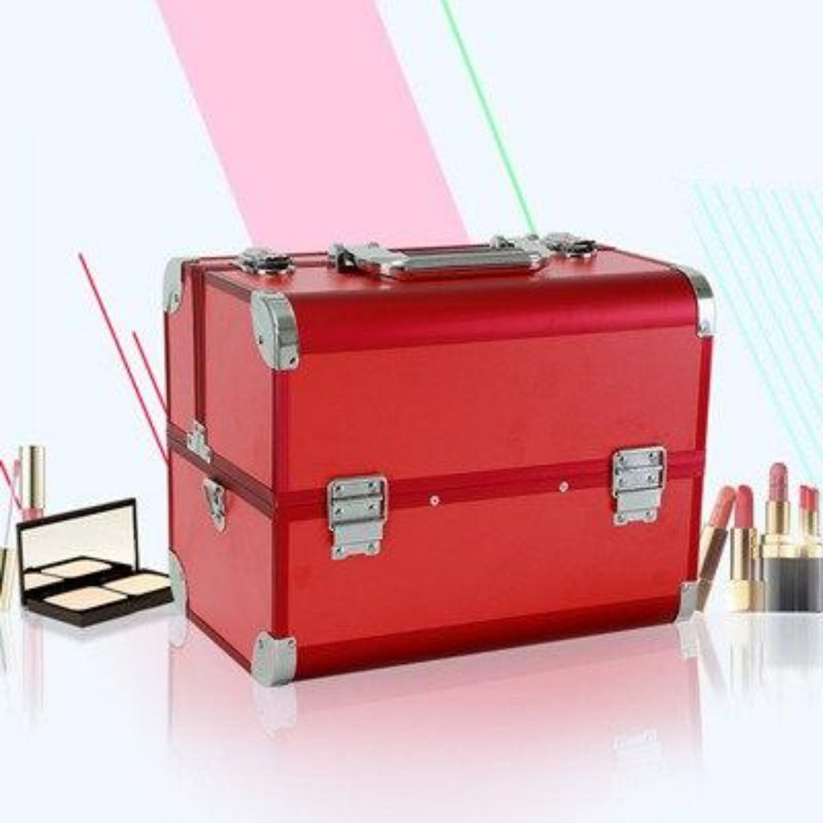 New Professional Large Capacity Aluminum Alloy Cosmetic Box Portable Double Open Multilayer Cosmetic Box Multi-function Toolbox