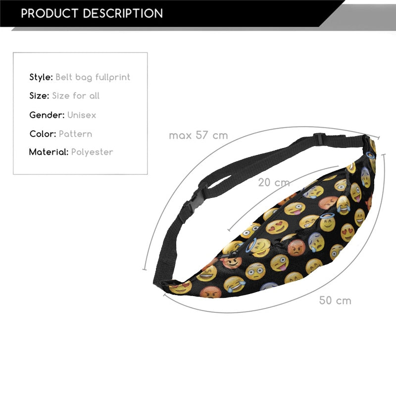 Jom Tokoy New 3D Colorful Waist Pack For Men Fanny Pack Style Bum Bag Emoji Black Women Money Belt Travelling Waist Bag