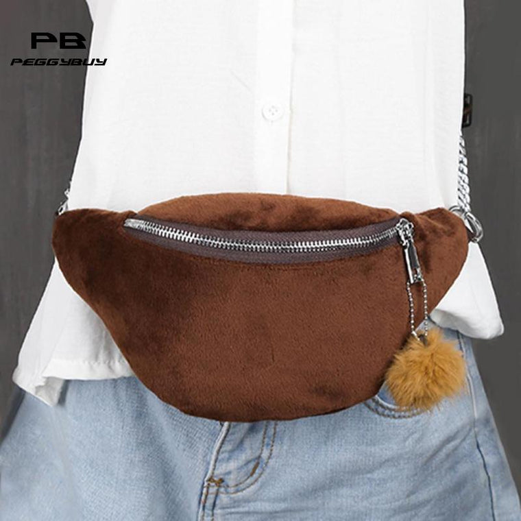 Winter Travel fanny pack for women Fleece banana bag Casual Chain belt bag sac banane homme belt for girls pochete feminina