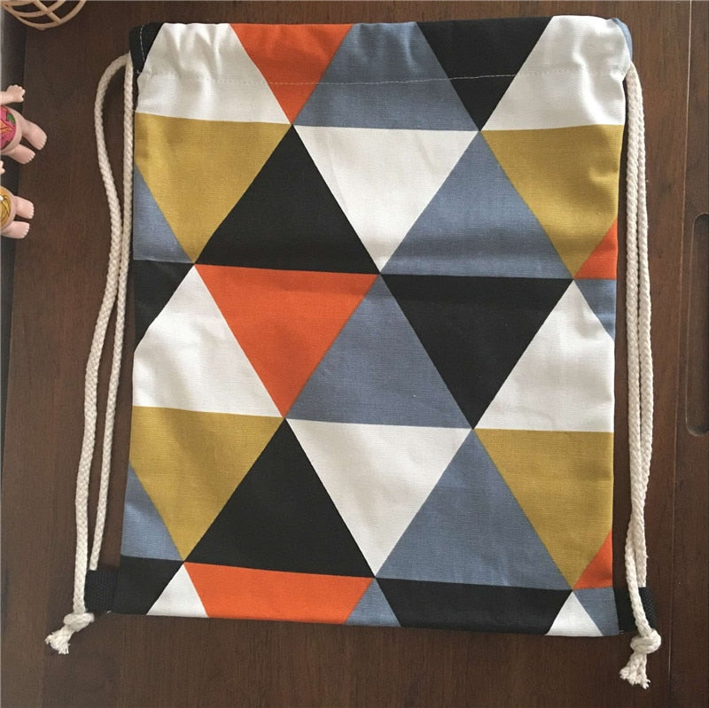 YILE Cotton Canvas Drawstring Backpack Rucksack Geometry Orange Black Triangle B21