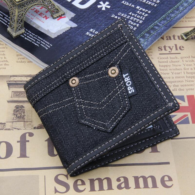 Fashion Black Denim Canves Wallet Men Coin Pocket Zipper Portfolio Handy Short Purse 3 Fold Male Purses Cards Wallets Bag
