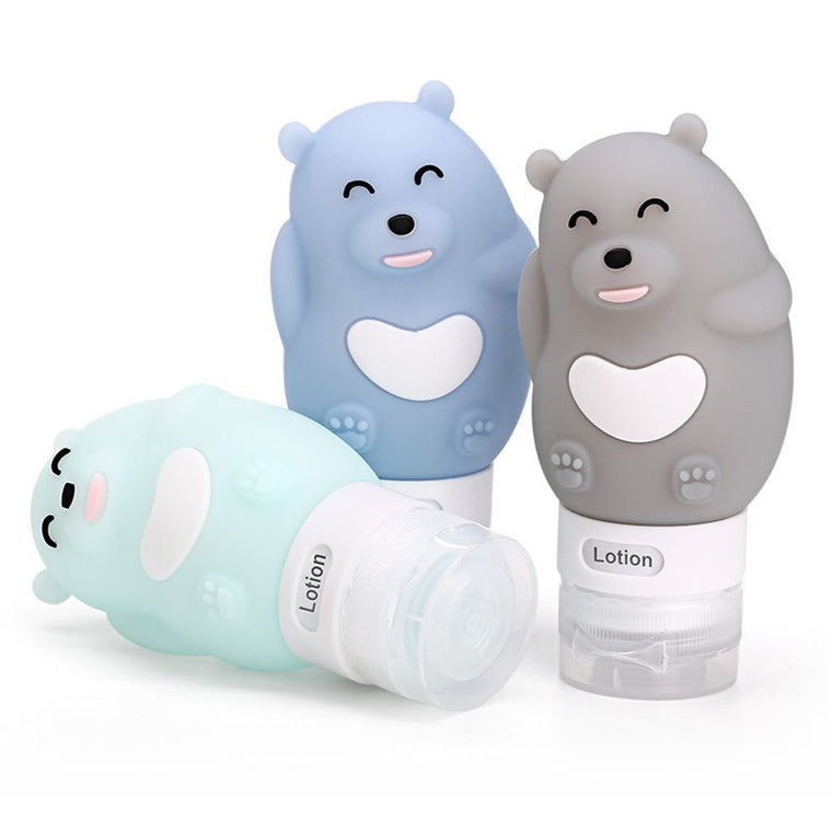 Portable Soft Silicone Travel bottles Set 3 Leak-Proof Travel Size Silicone Containers - Perfect for Shampoo and Lotion bear