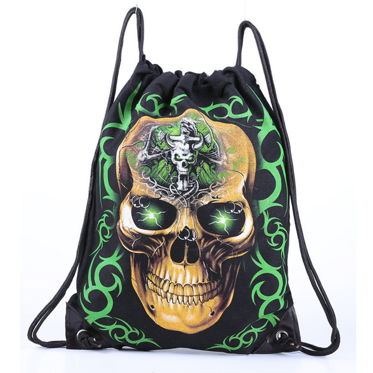 Skull Skeleton Gym Bags New Swimming And Sports Drawstring Bags European Men And Women Beach Backpack Shoes Bag