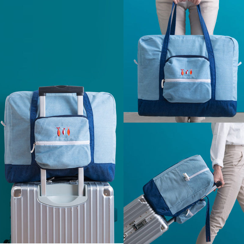 Wobag Fashion Women Portable Folding Travel Bag Denim Storage Bag Luggage Bag Large Capacity Luggage Travel Handbag