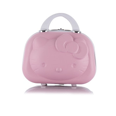 3D Hello Kitty Ms. Cosmetic Case/Business Travel Cosmetic Baggage/Girls Mini Suitcase/Student Portable Suitcase