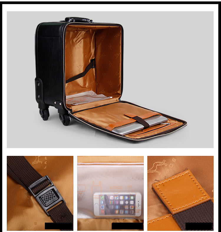 "TRAVEL TALE 16""20"" inch cow leather suitcase cabin black trolley genuine leather hand luggage"