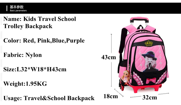 kid School Rolling backpack Children wheeled school backpack for grils Trolley School backpack bag kids Trolley bag On wheels
