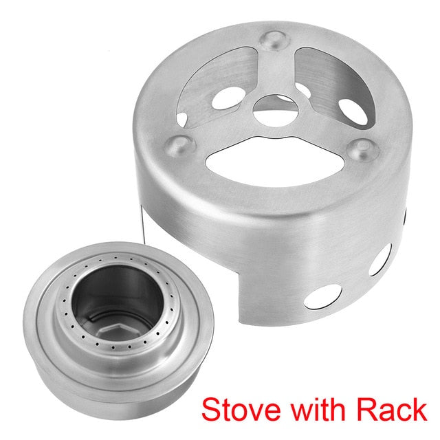 Portable Alcohol Stove with Rack Mini Outdoor Camping Stove Outdoor Alcohol Stove & Rack Windscreen Set for Hiking Backpacking
