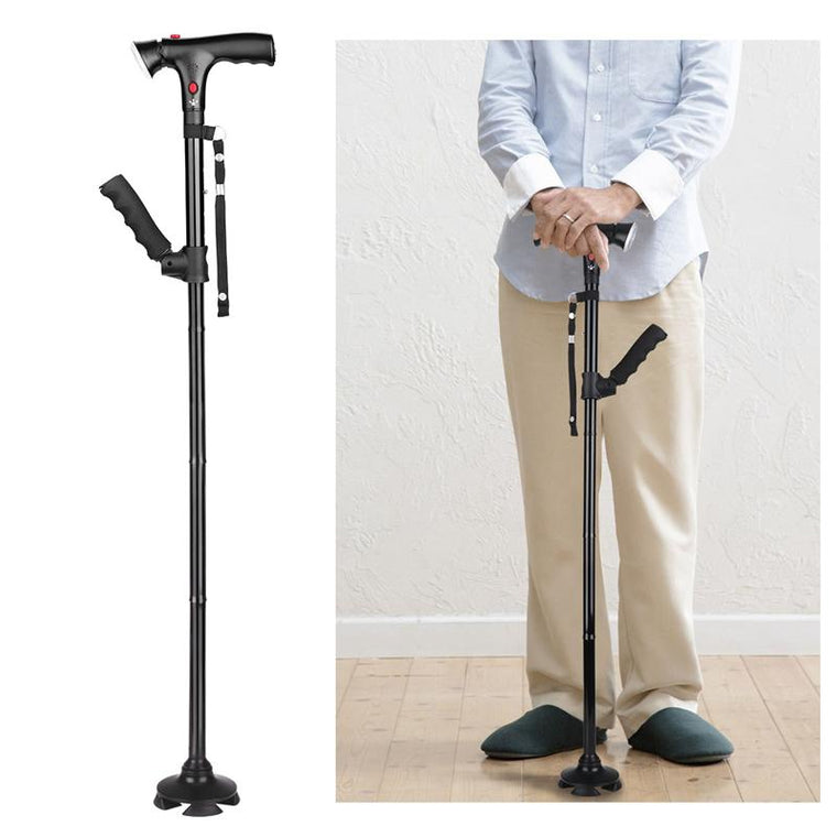 Collapsible Telescopic Folding Cane LED Lightweight Walking Trusty Sticks Great Gifts for Mothers the Elder Fathers