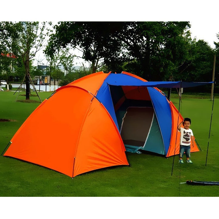 5-8 Person Big Camping Tent Waterproof Double Layer Two Bedrooms Travel Tent for Family Party Travel Fishing 420x220x175cm