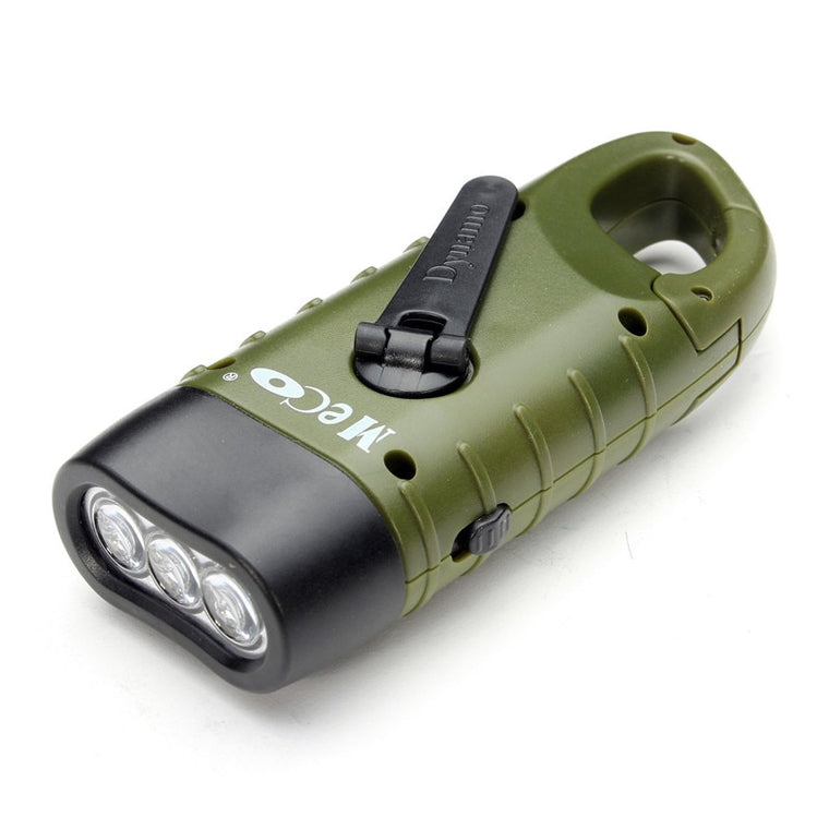 SGODDE Portable Outdoor Safety Mini Emergency Hand Crank Solar Flashlight Rechargeable Hangable Camping Hiking Survival Tool