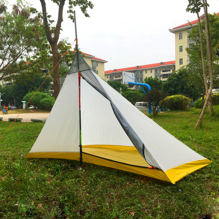 668G Camping tent 1-2 Person Outdoor 40D Nylon Silicon Coating Rodless Pyramid Large Tent Camping 4 season inner tent