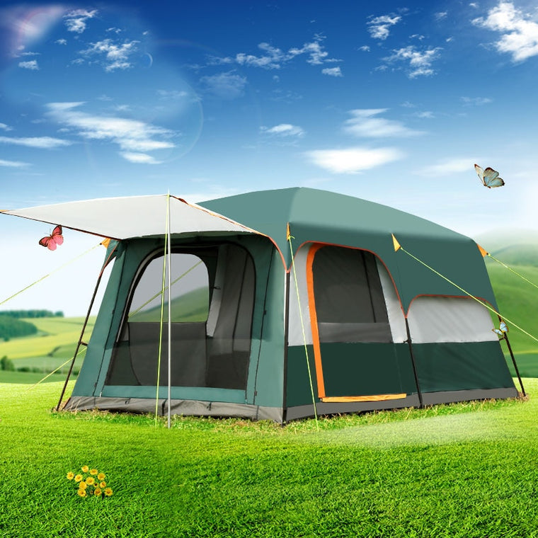 5-8persons double layer outdoor 2living rooms and 1hall family camping tent in top quality large space tent