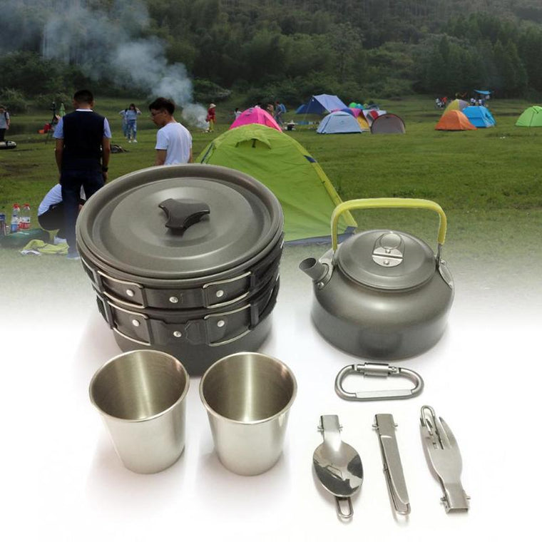 12Pcs Camping cookware Outdoor Hiking Picnic Teapot Pot Set cooking set travel tableware Cutlery Utensils hiking picnic set