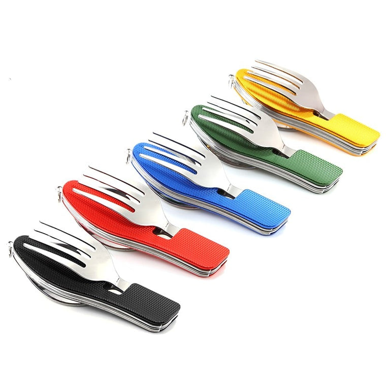 Outdoor Tableware Camping Cutlery Travel Folding Spoon Fork Knife Set Travel Hiking Stainless Steel Multi Pocket Picnic Cookware