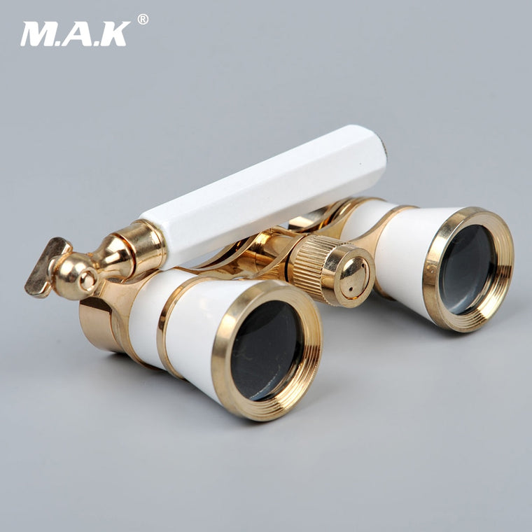 3x25 Brass Coated Lens Binocular Telescope Opera Theater Glasses with Retractable Handle for Watching Women Girls Gifts