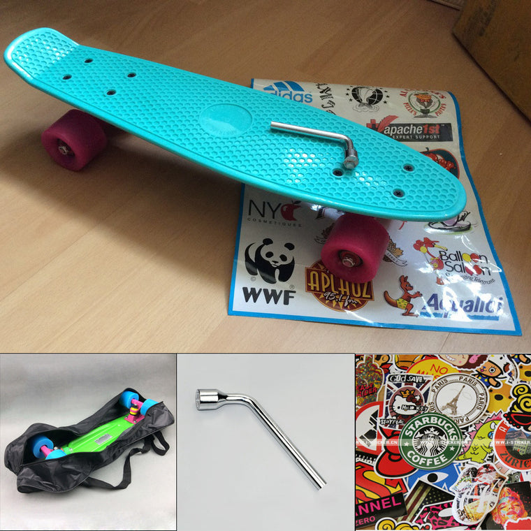 peny board kateboard with bag cool color truck 4 wheel longboard mini cruiser long board banana pnny style skate board patins