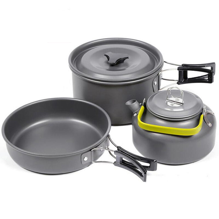 Outdoor Picnic Tableware Camping Pot Trekking Pot 3 pieces / set of Teapot Cooking Tools Camping Tableware Frying Pan Kettle