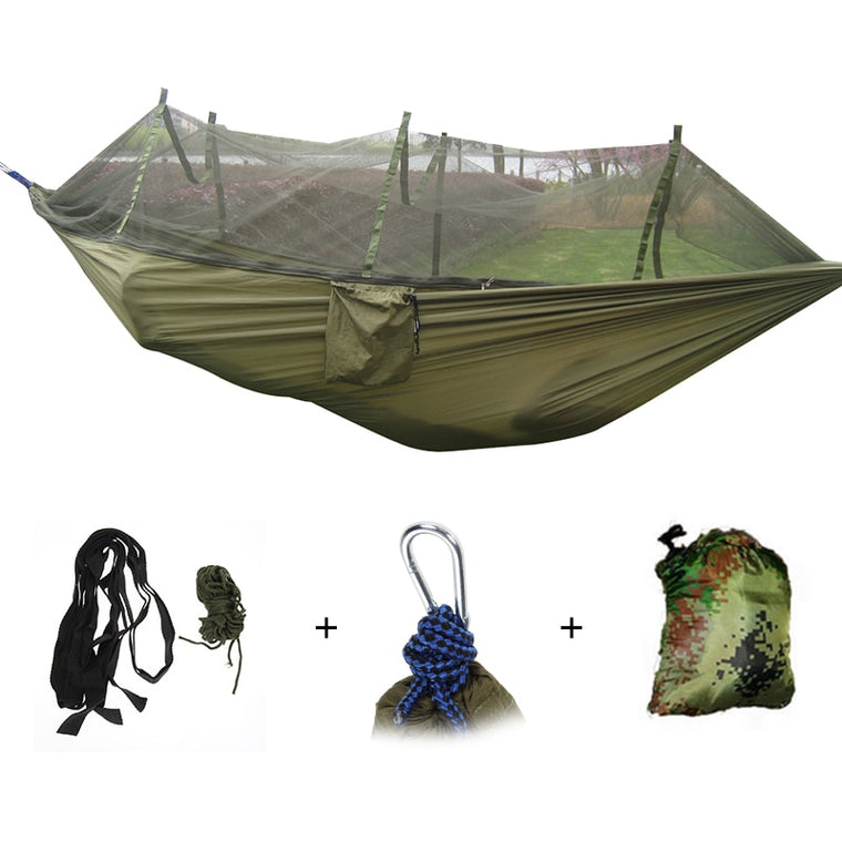 1-2 Person Portable Outdoor Hammock Camping Hanging Sleeping Bed with Mosquito Net Garden Swing Relaxing Parachute Hammock