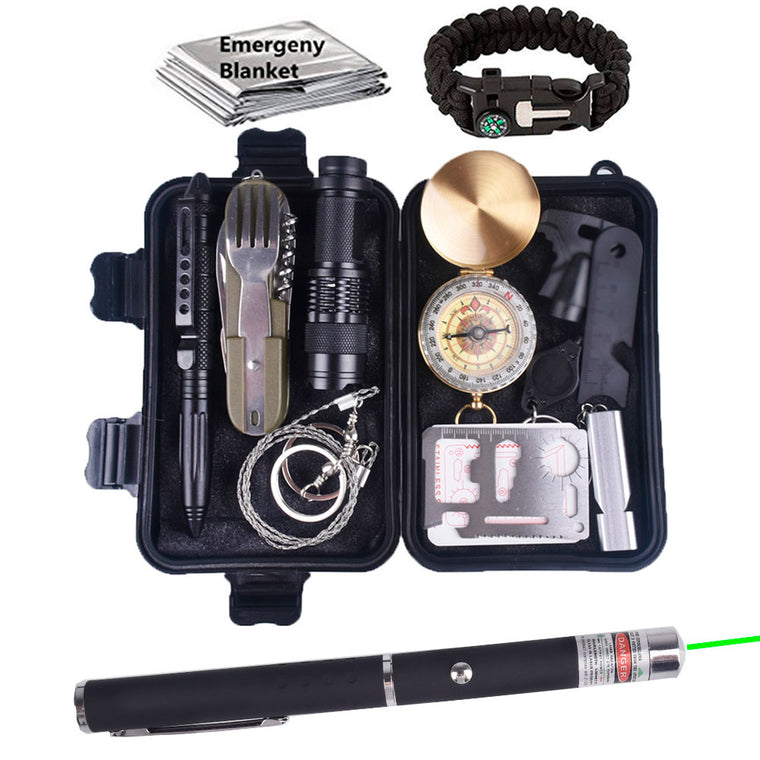 13 in 1 survival kit Set Outdoor Camping Travel Multifunction First aid SOS EDC Emergency Supplies Tactical for Wilderness laser