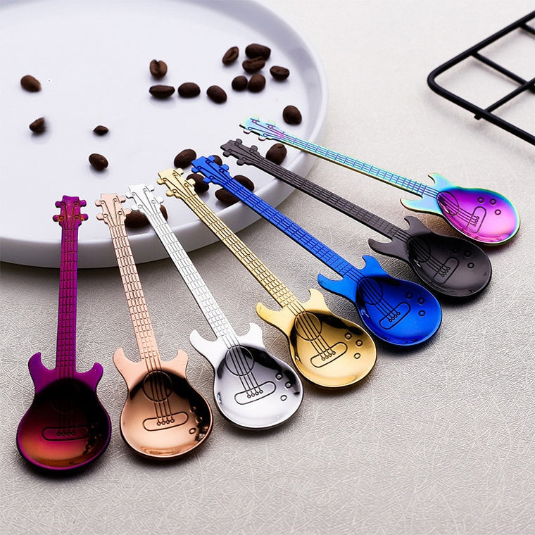 Stainless Steel Spoon Guitar Shape Hiking Camping Tableware Tea Stirring Spoon Small Outdoor Tablewar Dessert Scoop Creative