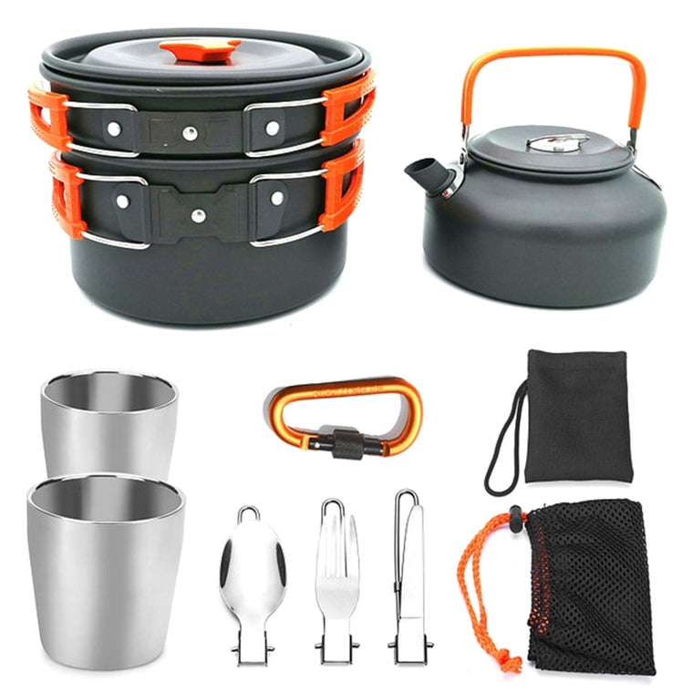 Outdoor Tableware Camping Cups Camping Utensils Portable Camping Cookware Hiking Pot Picnic Set Tourism Outdoor Teapot Pan Set