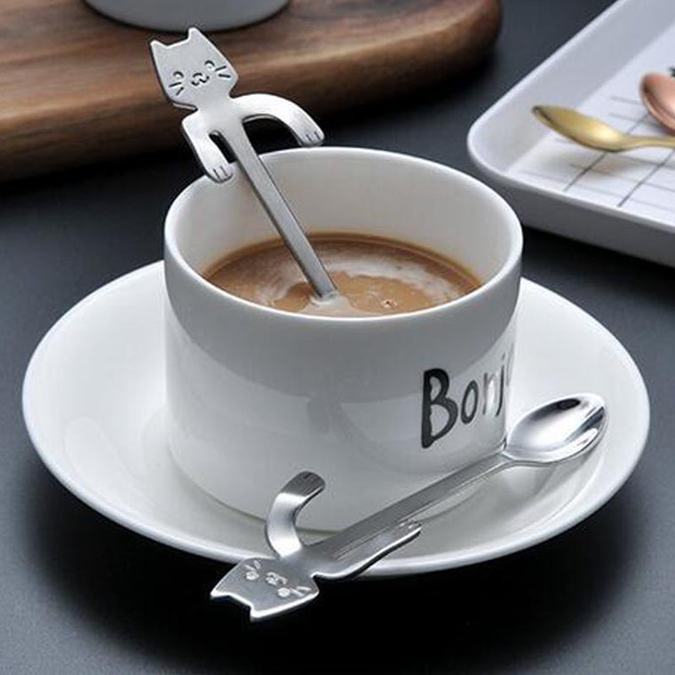 Outdoor Camping Tableware Spoon Cute Cartoon Cat Coffee Tea Soup Sugar Dessert Spoon Hanging Cup 304 Stainless Steel Kamp Spoon