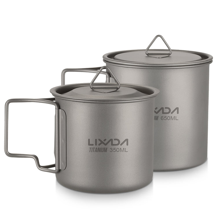 Lixada Ultralight Titanium Cup Outdoor Portable Camping Hiking Picnic Water Cup Mug with Foldable Handle 300ml/350ml/550ml/650ml